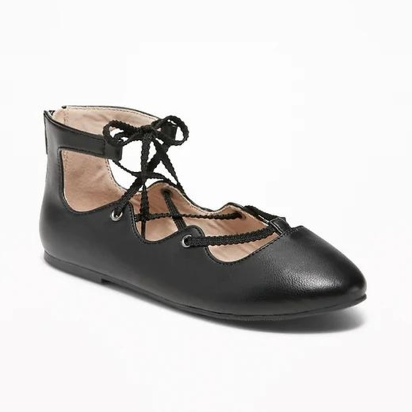 Old Navy Other - Faux-Leather Lace-Up Ballet Flats for Girls